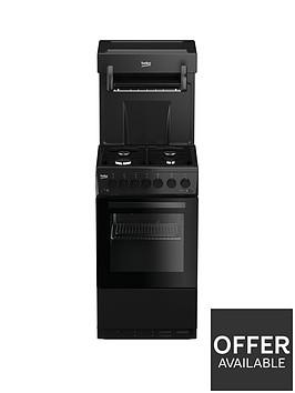 beko-ka52nek-50cm-single-oven-high-level-grill-gas-cooker-black
