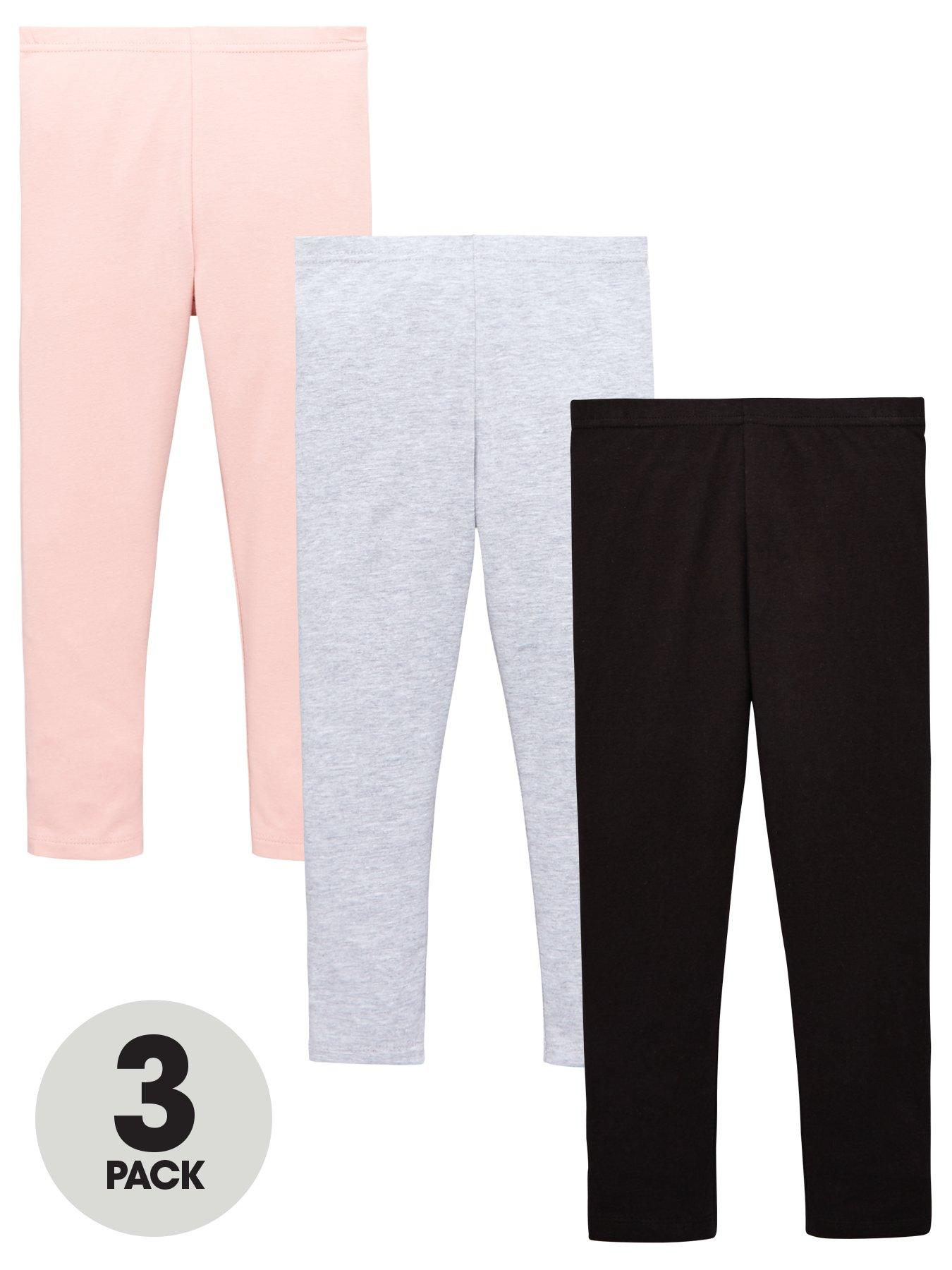 Designer Wear With Easy Stretch Girls Legging Plain 2pk 95/% Cotton 5/% Elastane