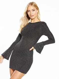 v-by-very-fluted-sleeve-textured-dress