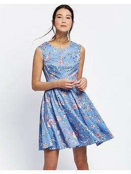 Joules Amelie Fit &Amp; Flare Dress - Blue