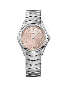 ebel-ebel-wave-pink-dial-diamond-set-stainless-steel-bracelet-ladies-watch