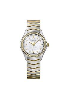 ebel-ebel-wave-mother-of-pearl-dial-diamond-set-bezel-stainless-steel-and-9ct-gold-bracelet-ladies-watch