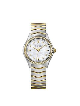 ebel-wave-mother-of-pearl-dial-diamond-set-bezel-stainless-steel-and-real-gold-bracelet-ladies-watch