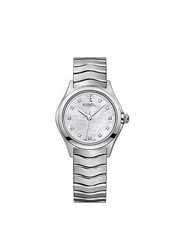 ebel-wave-dial-diamond-set-stainless-steel-bracelet-ladies-watch