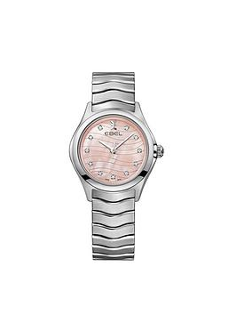 ebel-wave-pink-dial-diamond-set-bezel-stainless-steel-ladies-watch