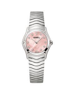 ebel-ebel-classic-diamond-set-pink-mother-of-pearl-dial-screw-detail-stainless-steel-ladies-watch