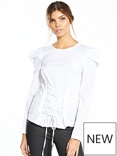 miss-selfridge-miss-selfridge-poplin-corset-mutton-sleeve-blouse