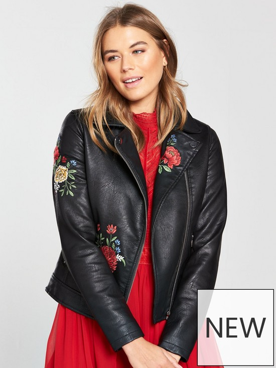 V by Very Embroidered Faux Leather Jacket - Black   very.co.uk