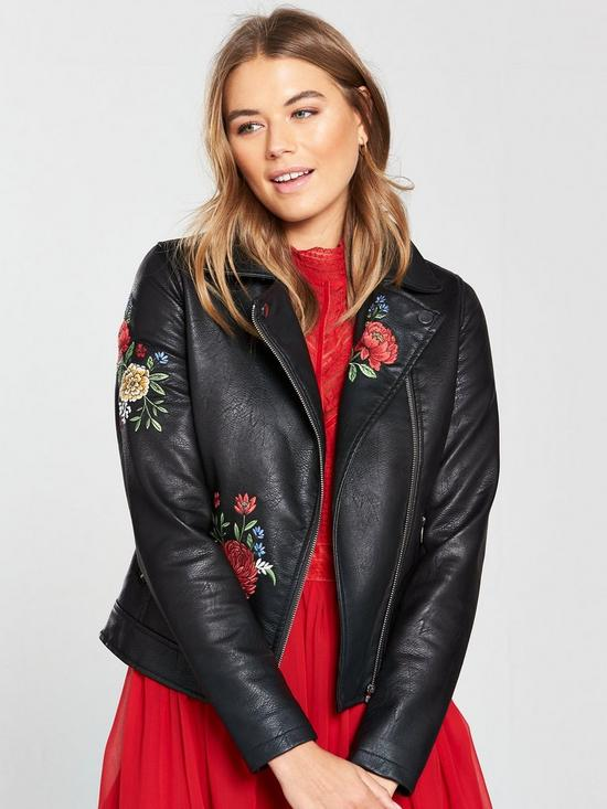 V by Very Embroidered Faux Leather Jacket - Black | very.co.uk
