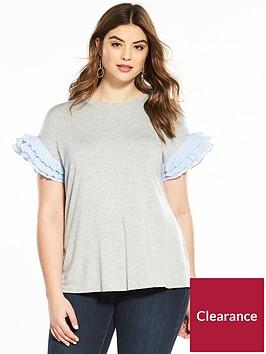 v-by-very-curve-stripe-sleeve-split-back-t-shirt