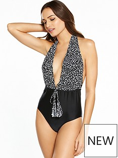 v-by-very-gathered-plunge-tassel-tie-swimsuit-black-print