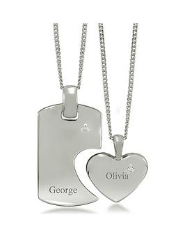 the-love-silver-collection-sterling-silver-cubic-zirconianbsphis-and-hers-personalised-tag-and-heart-spilt-pendant
