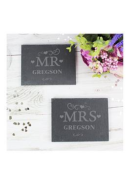 The Personalised Memento Company Personalised Set Of 2 Slate Mr & Mrs Coasters