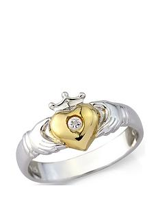love-silver-sterling-silver-and-yellow-rhodium-cz-claddagh-ring