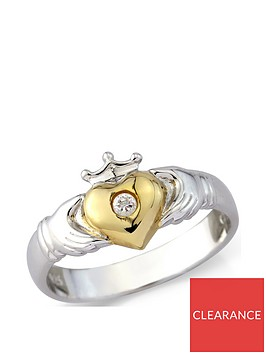 the-love-silver-collection-sterling-silver-and-yellow-rhodium-cz-claddagh-ring