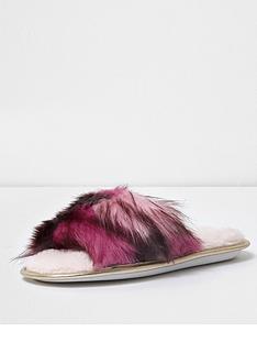 river-island-mental-faux-fur-open-toe-slipper