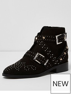 river-island-flat-biker-buckle-boot