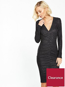 ax-paris-ruffle-front-sparkle-bodycon-dress-black