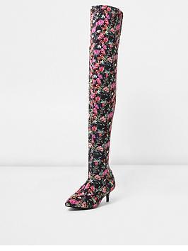river-island-river-island-black-floral-kitten-heel-over-the-knee-boot