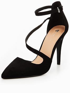 V By Very Sylvia Asymmetric Heeled Shoe - Black