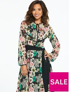 myleene-klass-bright-floral-printed-tie-neck-tea-dress