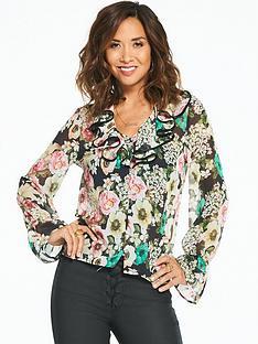myleene-klass-bright-floral-printed-tie-neck-blouse