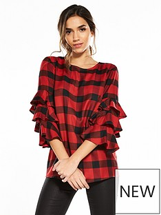 v-by-very-tiered-sleeve-check-top-blackred