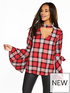 v-by-very-choker-fluted-sleeve-top