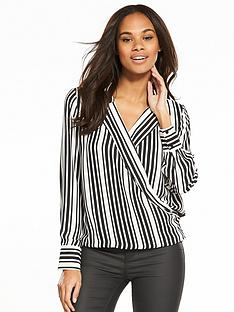 v-by-very-stripe-wrap-blouse