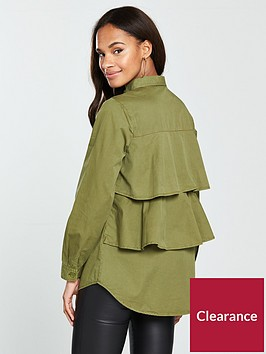 v-by-very-frill-back-military-shirt