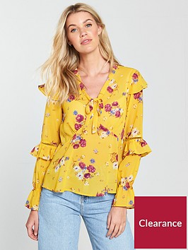 v-by-very-floral-tie-neck-top
