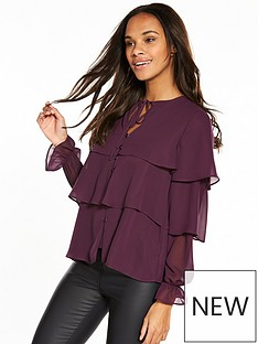 v-by-very-tiered-blouse-berry-rose