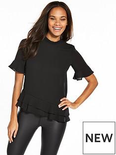 v-by-very-frill-hem-short-sleeve-top-black
