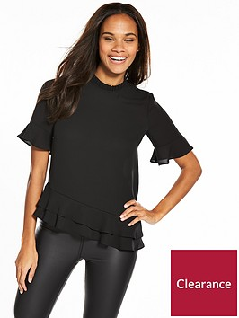 v-by-very-frill-hem-short-sleeve-top-black