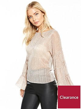 v-by-very-metallic-statement-ruffled-sleeve-blouse-cream