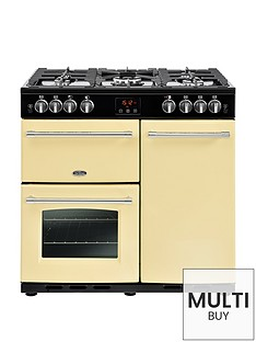 belling-farmhouse-90g-90cm-gas-range-cooker-with-connection-cream
