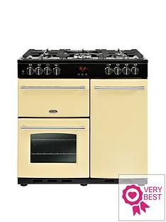 belling-belling-farmhouse-90dft-90cm-dual-fuel-range-cooker-cream