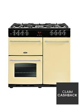 belling-farmhouse-90dft-90cm-dual-fuel-range-cooker-cream