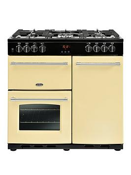 Belling 90Dft Farmhouse 90Cm Dual Fuel Range Cooker With Connection - Cream Best Price, Cheapest Prices