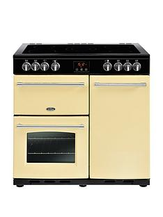 Belling Farmhouse 90E 90cm Electric Ceramic Range Cooker with Connection - Cream