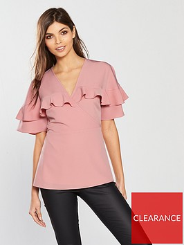 v-by-very-wrapped-frill-sleeves-blouse-pink