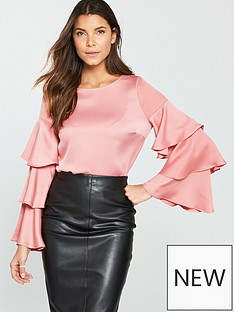 v-by-very-tiered-sleeve-top-pinknbsp
