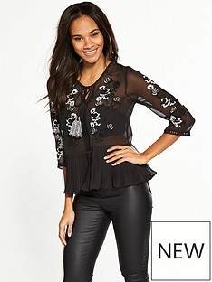 v-by-very-embroidered-tassel-top-black