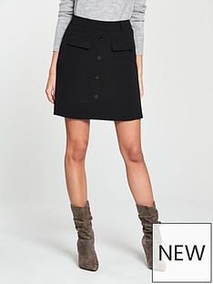 v-by-very-a-line-button-skirt-black
