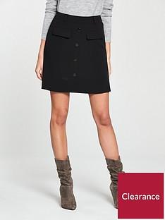 v-by-very-a-line-button-skirt-black