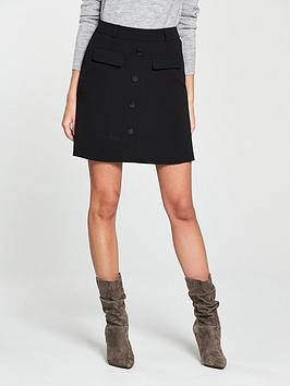 V By Very A-Line Button Skirt - Black
