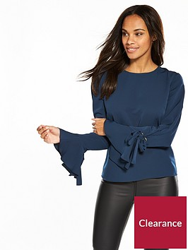 v-by-very-eyelet-cuff-detail-top-navy
