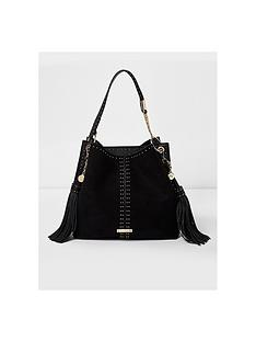 river-island-river-island-stud-double-tassel-slouch-bag