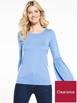 v-by-very-fluted-cuff-long-sleeve-top-chambray-blue
