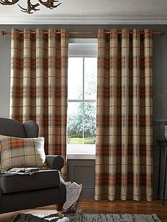 catherine-lansfield-brushed-heritage-check-lined-eyelet-curtainsnbsp